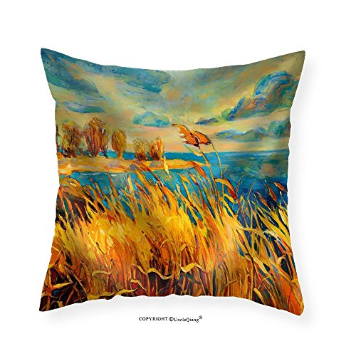 French Rush Seat Bench (VROSELV Custom Cotton Linen Pillowcase Original Oil Painting Showing Beautiful LakeSunset Landscape.Fern(Rush)Sky and Clouds - Fabric Home Decor 24