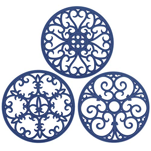 - Non Slip Silicone Carved Trivet Mats Set For Dishes- Heat Resistant Coasters-Modern Kitchen Hot Pads For Pots & Pans | (Round, Set of 3, Navy Blue)