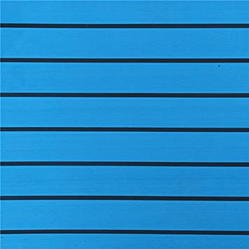 Lovinn Almohadilla de Espuma EVA de 240 x 90 cm Color Azul con l/íneas Negras para Suelos de Barco Madera de Teca sint/ética