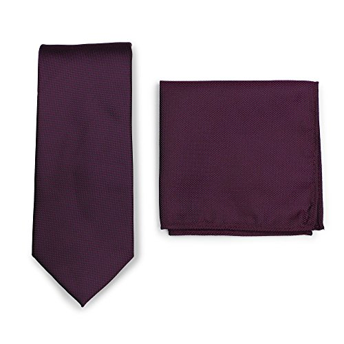 Bows-N-Ties Men's Solid Necktie and Pocket Square Set Matte Microtexture Finish (Grape Purple)
