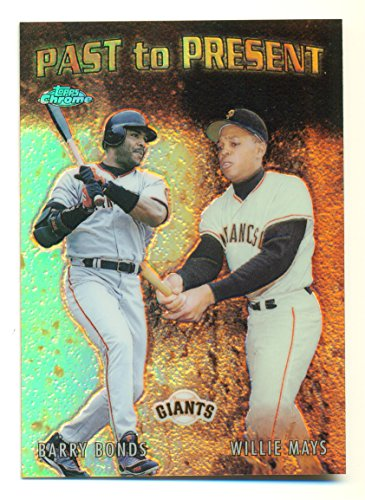 2001 Topps Chrome Past to Present Refractor Willie Mays Barry Bonds #PTP4