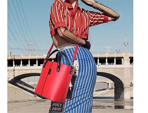 NVBAO pezzi Red femminile Sacchetto mano tre colori di ha modo spalla lavoro brown viaggio di quattro di raccoglitore fissato di del della lavoro wIrIpBq