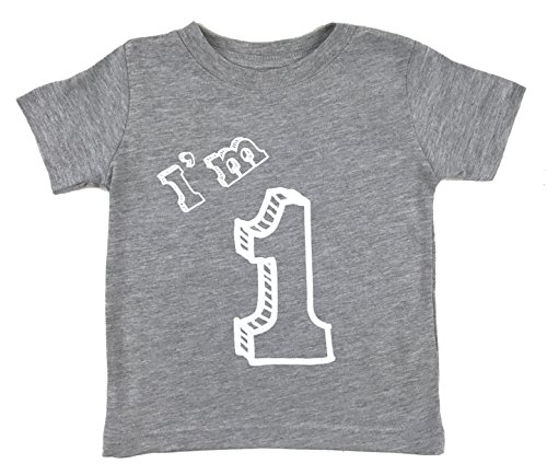 I'm 1 T-Shirt - One Year Old Birthday Party (12 Month, Heather Grey)