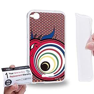 Case88 [HTC Desire 320] Gel TPU Carcasa/Funda & Tarjeta de garantía - Art Drawing Lava Koinobori Satsuki Nobori Art2030