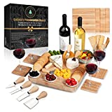 Cheese Board Set: 13x13.4x2 Inch All Bamboo Tray...