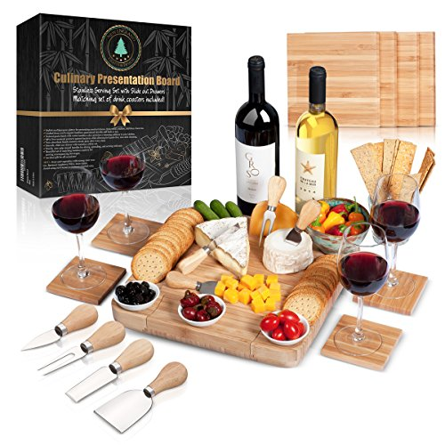 Cheese Kitchen Board Home (Cheese Board Set: 13x13.4x2 Inch All Bamboo Tray with Slide Out Drawer, 4-Piece Cutlery, Coasters and Guide in a Gift Box, Perfect Housewarming Gift & Best Gift For Every Kitchen)