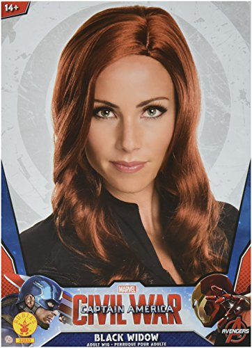 Widow Costumes Halloween (Secret Wishes Women's Captain America: Civil War Deluxe Black Widow Wig, Black, One)