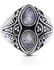 Koral Jewelry Moonstone 2 Stones Gipsy Vintage Ring 925 Sterling Silver US Size 6 7 8 9