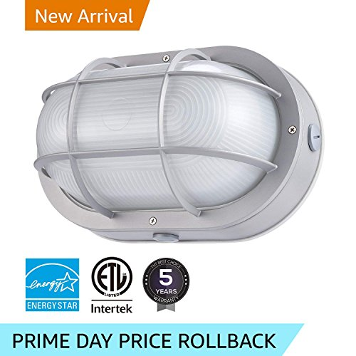 Large Round Bulkhead Aluminum (LEONLITE LED Marine Oval Bulkhead Light, 20W (120W Equivalent), Energy Star, 3000K Warm White Outdoor Wall Light, 5 Years Warranty)