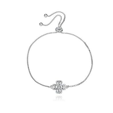 47349fdf4aa6 ... amiga simple y elegante pulsera regalo esposa regalo boda Lucky trébol  de cuatro hojas plata de ley pulsera con cristal de Swarovski  Amazon.es   Joyería