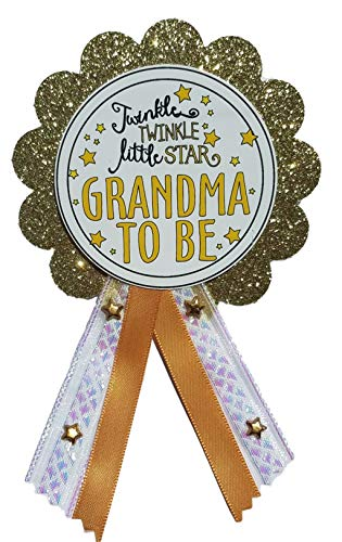 Grandma to Be Pin Twinkle Little Star Glam Baby Shower Pin for Nana to wear, White & Gold, It's a Girl, It's a Boy Baby Sprinkle ()