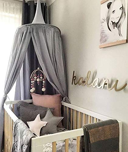 Princess Bed Canopy Mosquito Net for Kids Baby , Round Dome Kids Indoor Outdoor Castle Play Tent Hanging House Decoration Reading nook Cotton Canvas Height 240cm / 94.9 inch (Grey) (Play Tent Canopy)