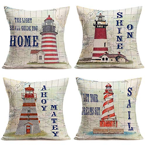 Asminifor Pillow Covers Nautical Navigation Map Background Cotton