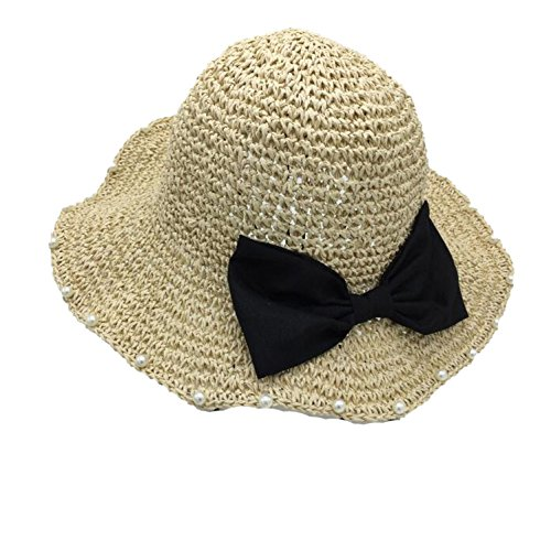 Ablaze Jin Sweet Bow Pearl Basin Fisherman Uvsunshade Holiday Beach Folding Hat,Beige