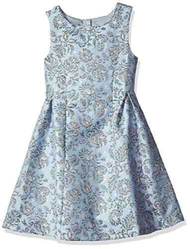 Bonnie Jean Big Girls' Brocade Party Dress, Blue, 12 (Silver Brocade Dress)