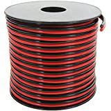 GS Power True 14 Gauge (American Wire Ga) 100 feet 99.97% OFC Stranded Oxygen Free Copper, Red/Black Bonded Zip Cord Speaker Cable for Car Audio Home Theater LED Light Amplifier Auto Harness Wiring