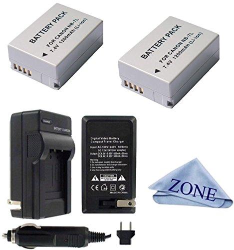 大容量交換用NB - 7l電池Canon PowerShot g10、g11、g12、sx30 isデジタルカメラ B07C8GN5S4  2 Batteries + 1 Charger