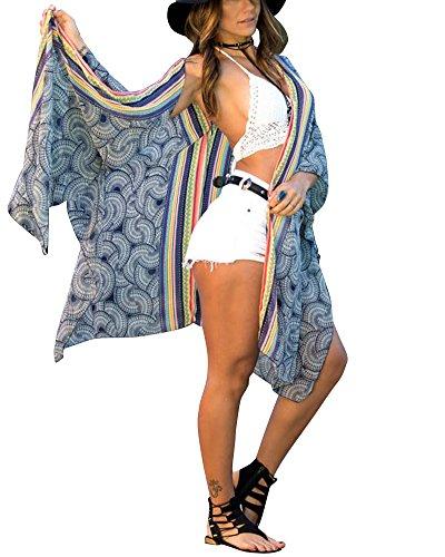 Cardigan Corto de Playa Verano Mangas Largas Camiseta Camisola y Pareo Top Casual Azul