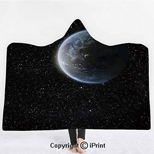"Galaxy 3D Print Soft Hooded Blanket Boys Girls Premium Throw Blanket,Scenic View of Planet Earth from Moon Dark Cosmos Crater Sci Fi Theme Image Print,Lightweight Microfiber(Kids 50""x60"") Blue Black"