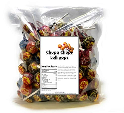 Chupa Chups Lollipops Original Assorted Flavors, 1 LB Bag bulk candy individually wrapped