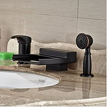 Gowe Deck Mounted Oil Rubbed Bronze Waterfall Bathroom Tub Faucet W Hand Sprayer Tap