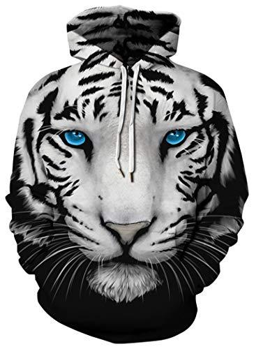 Tigers Womens Hoodie Sweatshirt - HaniLav Unisex Realistic 3D Print Pullover Hooded Sweatshirt Hoodies,White Tiger,S/M