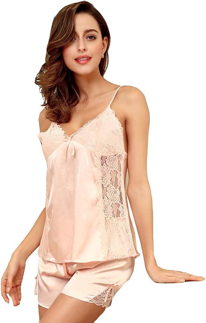 Womens Sleepwear Satin Pajama Cami Set Sexy Nightwear Satin Nightgown for Women