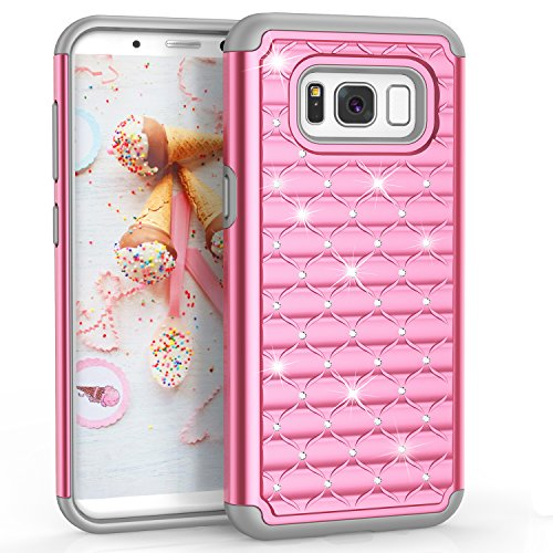 Galaxy S8 Case, [Radiant Series] Drop-Tested Full-body Rubber Plastic Rugged Hard Protective Case with Crystal Shinning Studded Rhinestone for Galaxy S8/ G950A/G950P/G950T/G950V/G950R4/G950U[Pink]