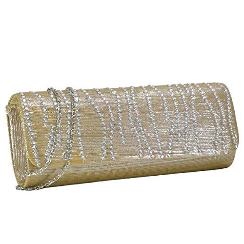 Woman Rhinestone Evening Bag Clutch Purse Crystal Pleated Satin Party Handbag Gold Crystal Designer Handbag