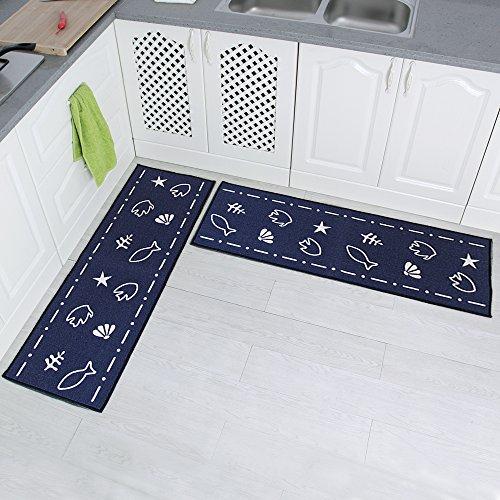Carvapet 2 Piece Non-Slip Kitchen Mat Rubber Backing Doormat Runner Rug Set, Fish Shell Design (Navy 15″x47″)