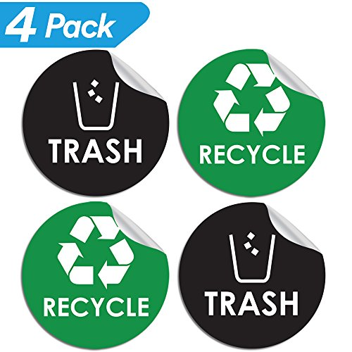 Garbage Management Waste Collection (Recycle Sticker Trash Bin Label - 4