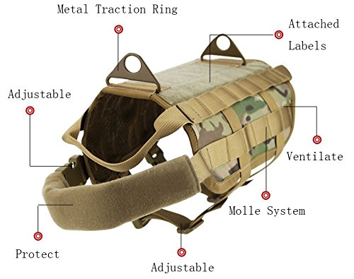 MD Group Dog Harness Army Tactical Dog Vests Hunting Training Molle Vest Outdoor Clothes by MD Group (Image #4)