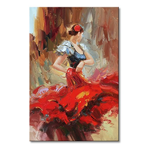 Hand Painted Spanish Flamenco Dancer Oil Painting On Canvas with Red Skirt Impression Sexy Woman Abstract Wall Art - Spanish Oil Painting