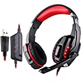 Gaming Headset, GranVela® G9000 7.1 Surround Sound High Performance Stereo Headphone Headset with Microphone (Black+Red)