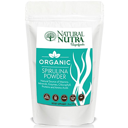 Organic Spirulina Powder by Natural Nutra – 8oz, 75 servings – Superfood Dietary Supplement: Plant Protein, Antioxidants, Beta Carotene, Chlorophyll – USDA Organic, Non GMO, Vegan, Gluten Free, Raw