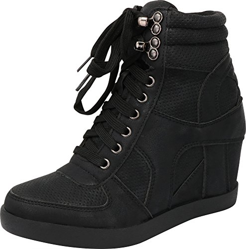 Cambridge Select Women's High Top Closed Toe Lace-up Perforated Hidden Wedge Fashion Sneaker,11 B(M) US,Black