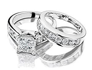 Princess Cut Diamond Engagement Ring in 10K White Gold 1/2 Carat Diamond (5)