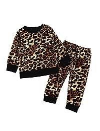 Camidy 2pcs Boys Girls Long Sleeve Top Pants Tracksuit Sweatshirt Clothes Set