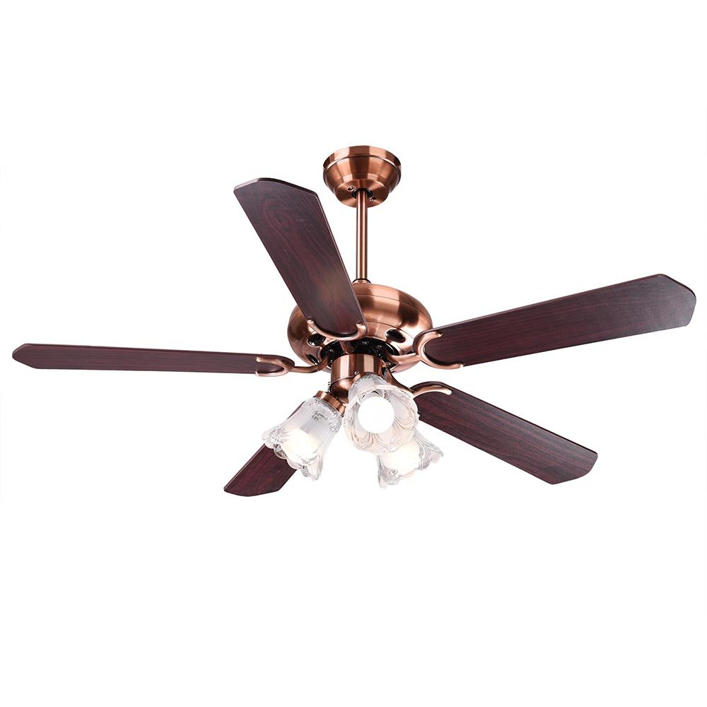 Yescom 48'' 5 Blades Ceiling Fan with Light Kit Antique Copper Reversible Remote Control