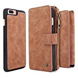 iPhone 7 Plus Case, BELK Detachable 2 in 1 Magnetic Detachable Zip Wallet [Large Capacity] Flip Case with 14 Card Slots and Removable Slim PC Back Cover for Apple iPhone 7 Plus - 5.5 inch, Brown
