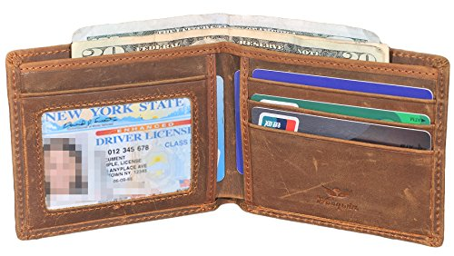 Mens Slim Bifold Wallet RFID Vintage Genuine Leather Thin Front Pocket Wallet (Brown (Crazy Horse (Vintage Genuine Leather)