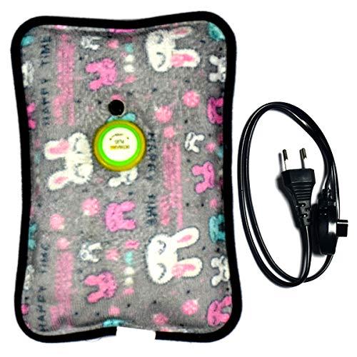 CURENEXT Quick Warming Velvet Electric Hot Water Bag (Multicolour, 1 L)