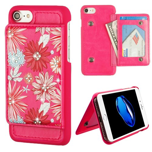 ShopAegis - [WALLET] [Hot Pink] Spring Daisies Diamante Executive Money Pocket ID Window Phone Case for Apple iPhone 8/7