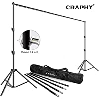 CRAPHY 2.5x3m 8x10ft Telescopic Backdrop Stand, Heavy Duty Adjustable Background Support System Kit for Photo Video Studio Photography or Projector Screen