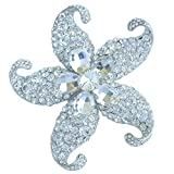 Sindary Charming 3.15'' Austrian Crystal Starfish Brooch Pin Pendant BZ4824 (Silver-Tone Clear)