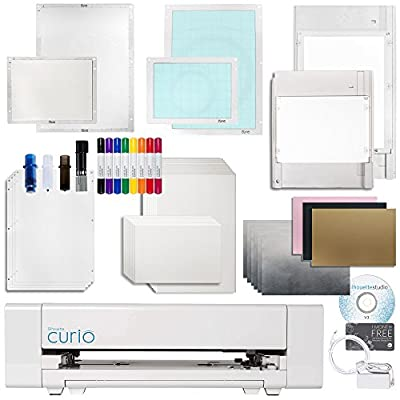 Silhouette Curio Digital Crafting Machine with Large 12 Inch By 8.5 Inch Base, Etching, Stippling, Sketching, Emboss Bundle