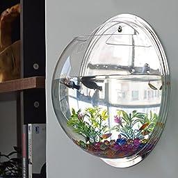 LING\'S SHOP Home Decoration Pot Wall Hanging Mount Bubble Aquarium Bowl Fish Tank Aquarium (Mirror, 19.5*19.5cm)