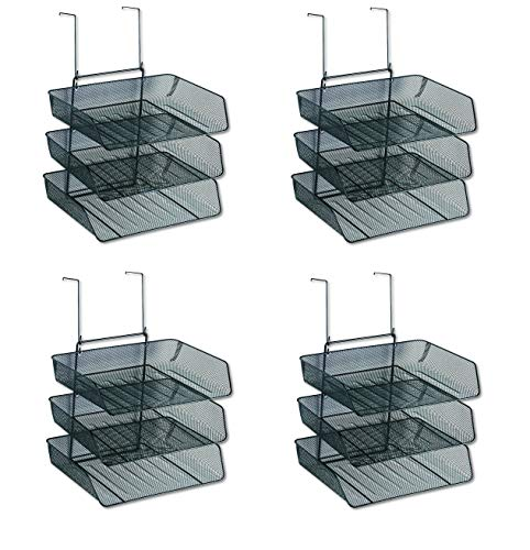 Fellowes Mesh Partition Additions Triple Tray, Side Load, Letter Size, Black (Pack of 4) - Fellowes Partition Additions Triple Trays