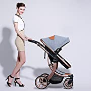 Baby Stroller High Landscape Two way shockproof baby can sit and sleep Baby use four seasons gray