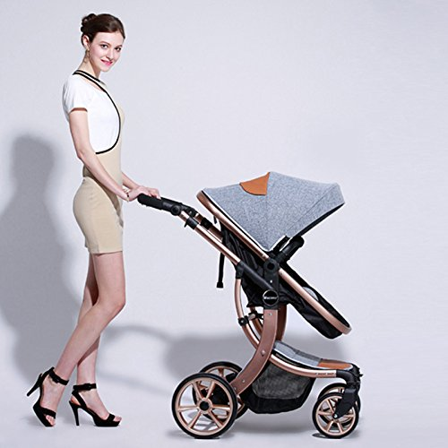 Baby Stroller High Landscape Two way shockproof baby can sit and sleep Baby use four seasons gray by aimle